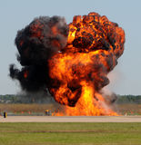 Giant explosion. Giant fireball with smoke and flames outdoors Royalty Free Stock Image