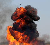 Giant explosion. Giant outdoor explosion with fire and black smoke Royalty Free Stock Image
