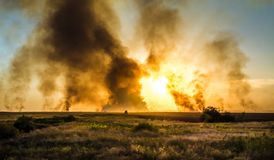 Giant explosion. A giant explosion in the fire box the flames smoke stock image
