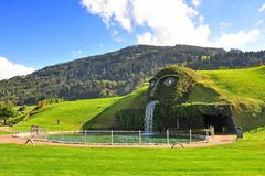 Giant face entrance to Swarovski Crystal World in Watten, Austria Stock Images