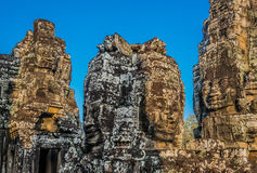 Giant faces prasat bayon temple angkor thom cambodia Royalty Free Stock Photography