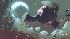 Giant fat bird flying in the night sky. With crescent moon, digital art style, illustration painting Stock Photo