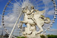 The giant Ferris Wheel (Grande Roue) in Paris Royalty Free Stock Photo