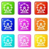 Giant ferris wheel icons 9 set. Giant ferris wheel icons of 9 color set  vector illustration Stock Images