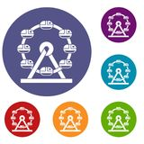 Giant ferris wheel icons set. In flat circle red, blue and green color for web Royalty Free Stock Photo