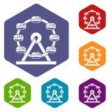 Giant ferris wheel icons set hexagon. Isolated vector illustration Stock Photos