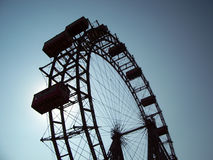Giant Ferris Wheel - Vienna. 105 Year Old Giant Ferris Wheel, Vienna Prater, Bohemian Prater. Looking up Stock Photo