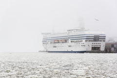 Giant ferry on crushed ice Stock Photo