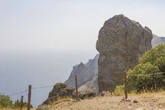 The giant figure weathering.A massive rock at the lookout area in the reserve.Kara-Dag.Crimea Royalty Free Stock Images