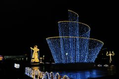 LED Dancers on the Festival Trip to Christmas. Giant figures of dancers erected for the Festival Trip to Christmas 2017-2018, Moscow, Russia Royalty Free Stock Images
