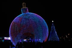 Huge Xmas tree ball. Giant figures erected at the Festival Trip to Christmas 2017-2018, Moscow, Russia Stock Photos