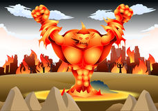 Giant fire monster illustration Stock Image