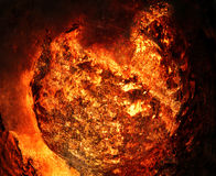 Giant Fireball. In space created with photomanipulation for a science fiction look royalty free stock photography