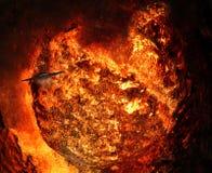 Giant Fireball with Spaceship Stock Photos