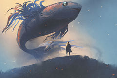 Giant fish floating in the sky above man in black cloak. Digital art style, illustration painting Royalty Free Stock Images
