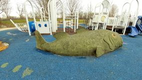 Giant Fish at Peace Park Playground in Janesville, WI stock images