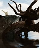 Giant fish vs Octopus. Giant fish vs legend octopus,3d illustration Royalty Free Stock Photography