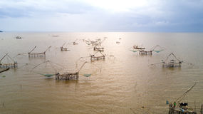 Giant fishing nets Royalty Free Stock Images