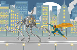 Giant flamethrower robot fighting an african superhero. Flying Royalty Free Stock Photography