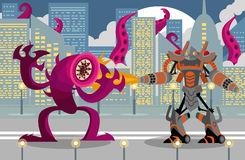 Giant flamethrower robot fighting a leech tentacles monster. In city Royalty Free Stock Photo