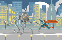 Giant flamethrower robot fighting a superhero. Flying Royalty Free Stock Image