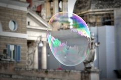 Giant flying soap bubble Royalty Free Stock Images