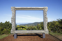 Giant frame with panoramic view of the Waitakere Ranges Stock Images