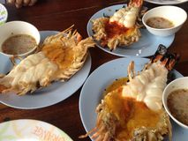 Giant fresh water prawn, Thai food. Giant fresh water prawn grill,Thailand Royalty Free Stock Image