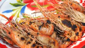 Giant freshwater prawn ready to eat serve in vintage tray.  Stock Images