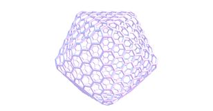 Giant fullerene-like molecular structure isolated on white background. Giant fullerene-like molecule consists of 720 carbon atoms and represents a mesh structure Stock Images