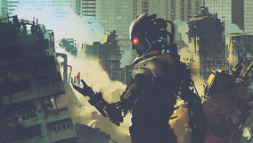 Giant futuristic robot looking at woman on its hand. In apocalyptic city, digital art style, illustration painting Stock Images