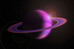 Giant gas planet with ring in outer space and flare Royalty Free Stock Photos