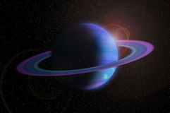 Giant gas planet with ring in outer space Royalty Free Stock Photos