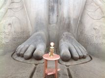 Giant But Gentle feet. This is the base of the giant stone statue of Lord Gomateshwara at Saravanabelogola stock photo