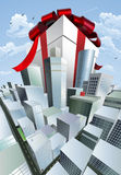 Giant gift in city royalty free illustration