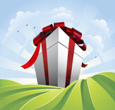 Giant gift in fields Stock Photos