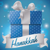 Giant Gift with Starry Pattern and Ribbon for Hanukkah Celebration, Vector Illustration Stock Photography