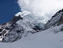 Giant glacier at mountain summit, Himalayas, Nepal Royalty Free Stock Photography
