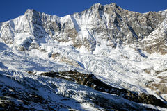 Giant glacier tongue Fee Glacier (Fee Gletscher) in Saas Fee Royalty Free Stock Images