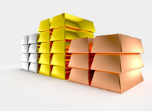 Giant gold copper silver bars stacked Stock Photos