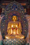 Giant Golden Buddha. Statues housed in the Huayan Monastery Royalty Free Stock Photography