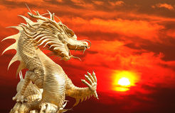 Giant Golden Chinese Dragon Royalty Free Stock Images