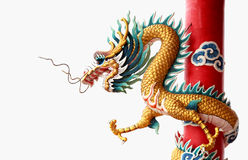 Giant golden Chinese dragon for year 2012 Stock Photos