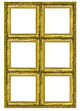 Giant golden frame containing six quadrats Stock Photography