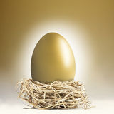 Giant golden nest egg. Big gold nest egg with a golden background stock photos