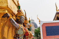 Giant golden statue, Thailand. Yak sculptures of a Buddhist Temple, Thailand Stock Image