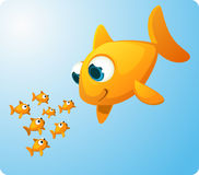 Giant Goldfish looking at baby fish. Group of Goldfish looking amazed at a giant Goldfish smilling at them. Seven (7) surprised and amazed little fish staring at Royalty Free Stock Images