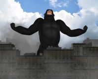 Giant Gorilla Invading City Fantasy Illustration Royalty Free Stock Images