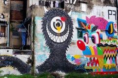 Giant graffiti on abandon building Stock Image
