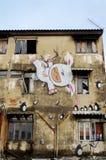 Giant graffiti on abandon building Royalty Free Stock Photography